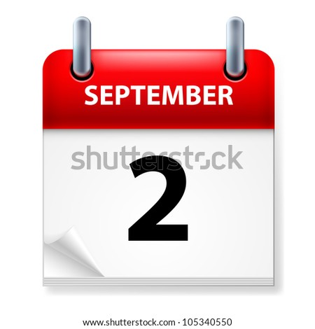 Second September in Calendar icon on white background