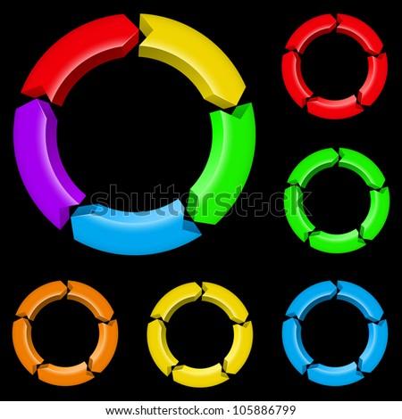 Second set of colored arrows. Illustration for design on black background
