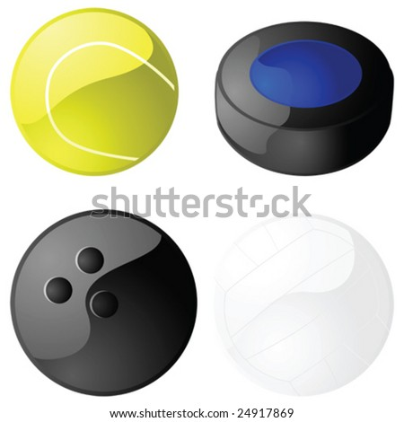 Second set of glossy sports balls: tennis, hockey puck, bowling and volleyball.