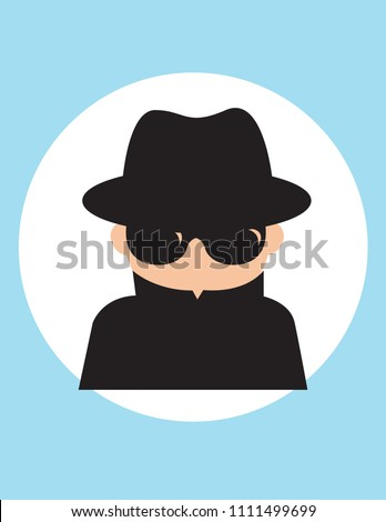 Secret agent man, gentleman spy of intelligence service, collect political, business information, Vector flat style cartoon illustration