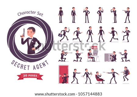 Secret agent man, gentleman spy of intelligence service, collect political data, business information, ready-to-use character set. Full length, different views, gestures, emotions, front, rear view