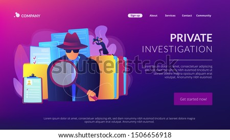 Secret agent searching clues and spying investigating case. Private investigation, private detective agency, private investigator services concept. Website homepage landing web page template.