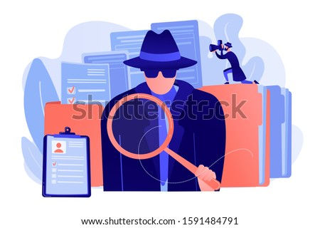 Secret agent searching clues and spying investigating case. Private investigation, private detective agency, private investigator services concept. Pink coral blue vector isolated illustration