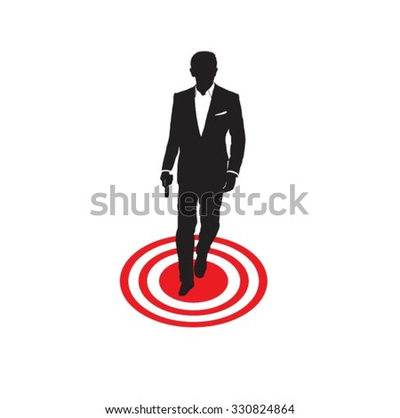 secret agent standing on target
