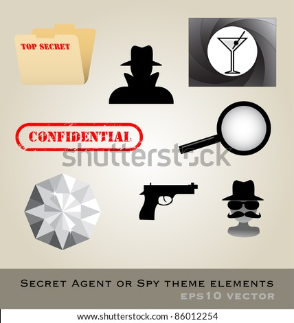 Secret agent theme pack vector