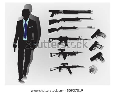 Secret agent with his weapons. - stock vector