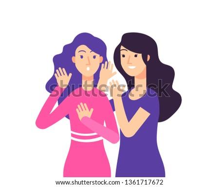 Secret. Female speaking rumor gossip whisper woman gossiping surprised lady secret whispering vector concept
