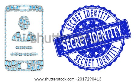 Secret Identity unclean round stamp seal and vector recursive collage mobile user info. Blue stamp seal contains Secret Identity text inside round shape.