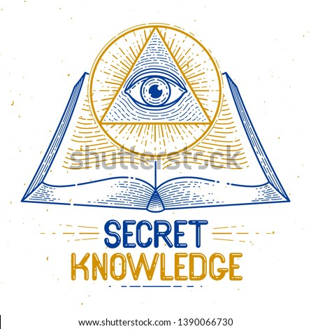 Secret knowledge vintage open book with all seeing eye of god in sacred geometry triangle, insight and enlightenment, masonry or illuminati symbol, vector logo or emblem design element.