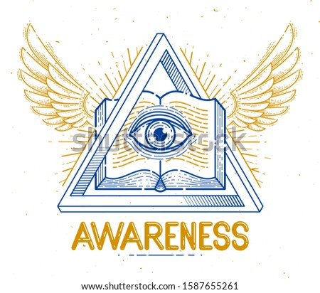 Secret knowledge vintage open winged book with all seeing eye of god in sacred geometry triangle, masonry or illuminati symbol, vector logo or emblem design element.