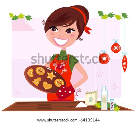 Secret recipe: Woman preparing christmas cookies. Vector Illustration