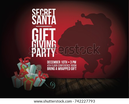 Secret Santa background with sneaky cartoon Santa Claus shadow tiptoeing away from stack of gifts. EPS 10 vector illustration.