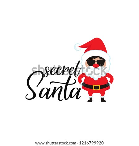 Secret Santa. Lettering. Hand drawn vector illustration. element for flyers, banner, t-shirt and posters winter holiday design. Modern calligraphy