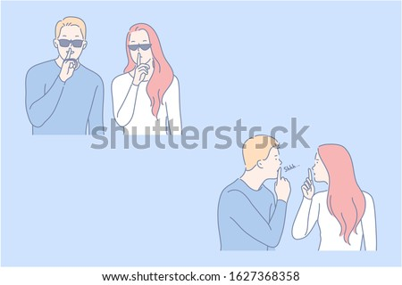 Secret, security, confidentiality set concept. Young couple asks to keep confidentiality. Wary man and woman is making security. Guy and girl demand to keep information in secret. Simple flat vector