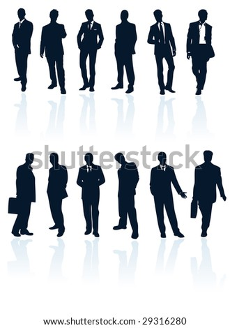 Secret service agent 007 silhouette man stand attitude bodyguard vector graphic male shadow black white isolated suit gallery human office person professional recruit men art creative business drawing