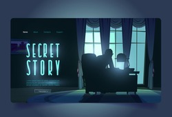 Secret story tour banner with spy in night office