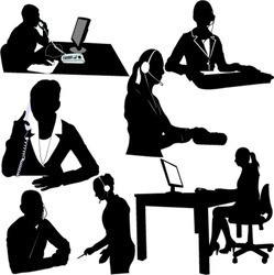 secretary and call center operator vector