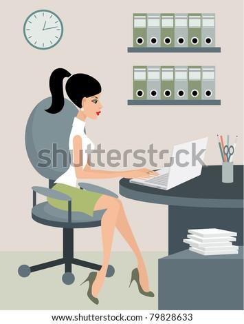 Secretary at office. vector