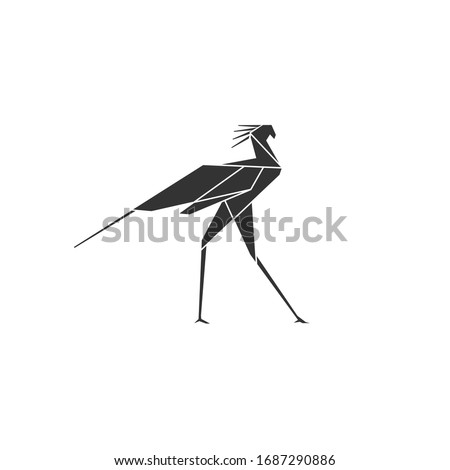 secretary bird logo polygonal