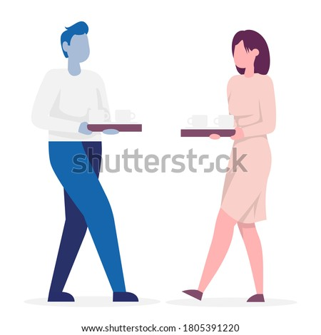 Secretary carries a tray of coffee. Color vector illustration