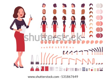 Secretary character creation set. Self-confident businesswoman, attractive assistant, effective salesperson, girlboss, femme fatale. Build your own design. Cartoon flat-style infographic illustration