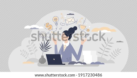 Secretary occupation as professional assistant in office tiny person concept. Female employee career work with communication and documents vector illustration. Woman receptionist job duties and tasks. Photo stock ©