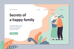 Secrets of a happy family landing page template. Seniors hugging. Loving couple of old people kisses. Cute elderly humans characters.Trendy vector illustration