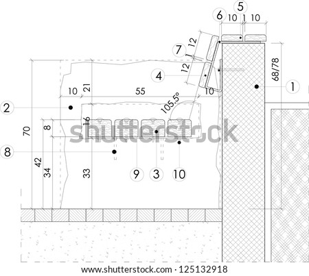 Section Drawing Of A Park Bench Stock Vector 125132918 : Shutterstock