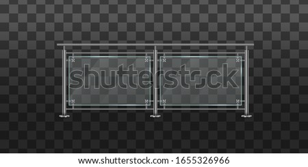 Section of glass fences with metal tubular railing and transparent sheets for home stairways, house balcony. Glass balustrade with metal railing set. Banister or fencing sections with steel pillars.