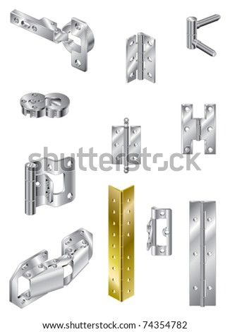 Section of steel hinges and one brass
