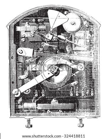 Section of the semaphore box, vintage engraved illustration. Industrial encyclopedia E.-O. Lami - 1875.