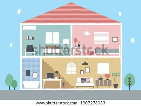 Sectional view of house illustration Stock photo ©
