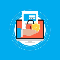Secure account login flat vector illustration design. User interface login, account registration, site access authorization, online protection and security. Design for web banners and apps