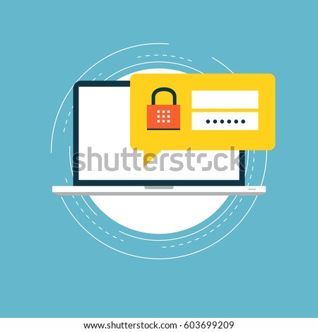 Secure account login flat vector illustration design. User interface login and account registration, site access authorization. Design for web banners and apps