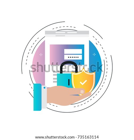 Secure account login gradient color vector illustration design. User interface login, account registration, site access authorization, online protection and security. Design for web banners and apps