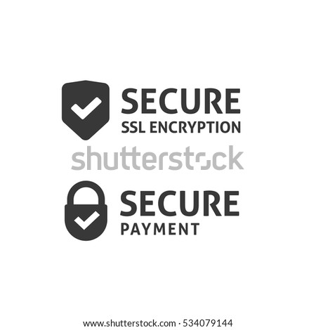 Secure connection icon vector illustration isolated, black and white secured ssl shield and padlock symbols, protected payment idea, safe data encryption technology, https certificate privacy sign