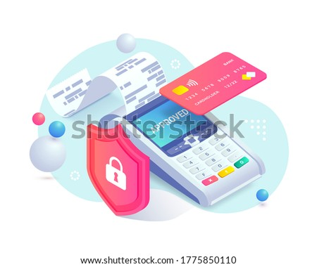 Secure contactless payment via credit card isometric abstract concept. 3d payment machine, plastic debit card behind shield. Cashless transaction protection, NFC payment safety. Vector illustration.