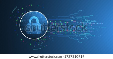 Secure digital space. Virtual confidential, programming protection. Foto stock ©