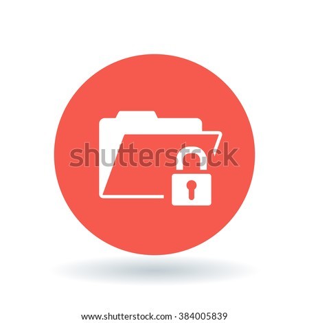 Secure folder icon. Folder with padlock sign. Password protected document symbol. White  icon on red circle background. Vector illustration.
