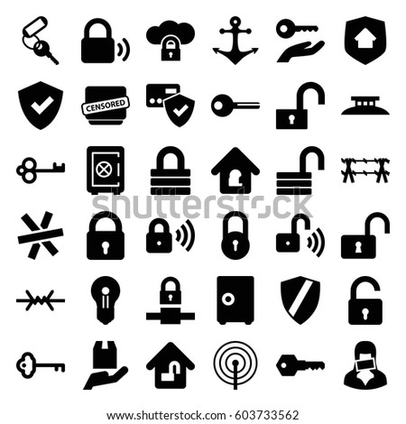 secure icons set set of 36