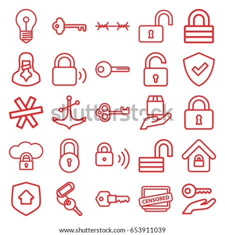 secure icons set set of 25