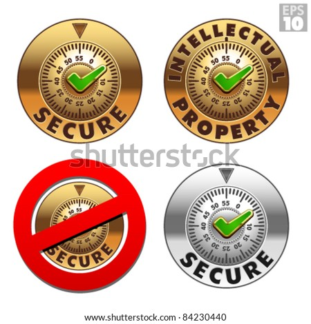 Secure, intellectual property safe, locked, not secured vault icons