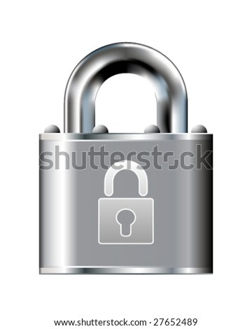 Secure lock icon on stainless steel padlock vector button