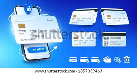 Secure mobile banking. Buy by card, online payment app for smartphone and bank cards mockup vector illustration set