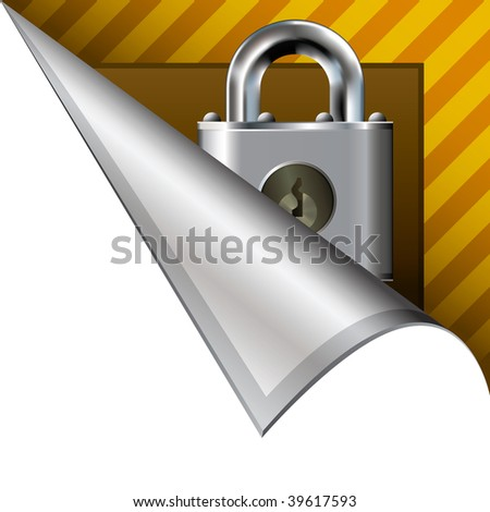 Secure or lock icon on vector peeled corner tab suitable for use in print, on websites, or in advertising materials.