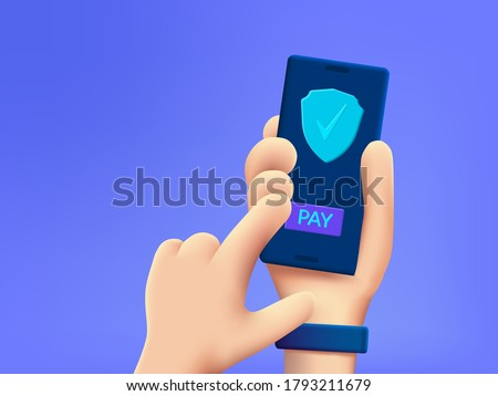 Secure payment design concept. Cartoon 3d hand holding mobile phone with secure payment button.