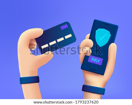 Secure payment design concept. Cartoon 3d hand holding mobile phone with secure payment button and hand with credit card.