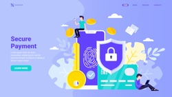 Secure payment, personal information security, account protection design concept for landing page. Flat vector illustration with tiny characters for landing page, website, banner, hero image