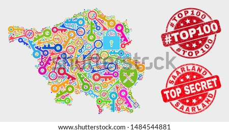 Secure Saarland Land map and seals. Red round Top Secret and #Top100 distress seals. Colorful Saarland Land map mosaic of different secure elements. Vector combination for safety purposes.