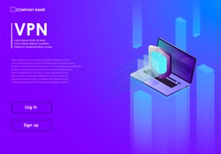 Secure virtual private network connection concept. Isometric vector illustration in ultraviolet colors. VPN connectivity overview.